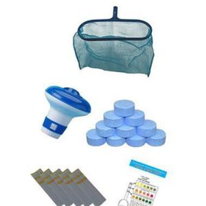 Multifunctional Chlorine Tablets Deep Oval Net With Floating Dispenser And Test Strips - Swindon Pool Hot Tub & Spa Chemicals And Accessories