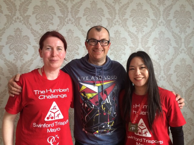 The Tri-Amigos (Mark Stephens here the thorn between two roses) - Ann Marie Hogan & Tsuyuko Yamanaka - the 2015 Bronze medal winning Relay Team in the Humbert Challenge