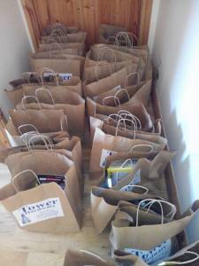 Here are the Goody Bags from 2015, packed and ready to go