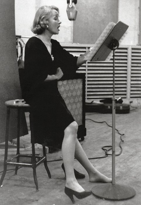 Marlene Dietrich at a recording studio, 1952 by Eve Arnold