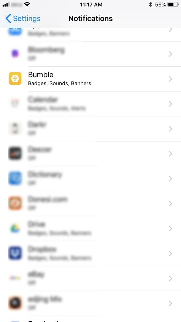 notification setting menu