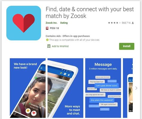 What does the heart mean in Zoosk?