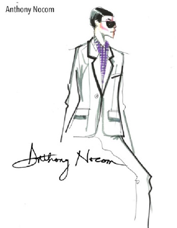 "A design sketch of Anthony Nocom, one of the fashion designers who will present their holiday collections at the upcoming Philippine Fashion Week to be held at SM Aura Premier, Taguig City on June 12-14. In his collection titled ""A New Attitude,"" Anthony interprets the rise of the modern, style-conscious man. Complementing the looks of his collection pieces on the runways are stylish accessories from Moshi, a brand founded in 2005 with the vision to bring beauty to the world of electronics."