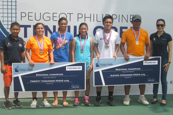 Shown in photo during the awarding ceremony of the Peugeot Philippines Tennis Open (PPTO) Cagayan De Oro regional qualifying leg are PPTO Tournament Director, Pet Santos; tournament winners Sally Mae Siso, Anjelica Mosqueda, Janelle Llavore, Bernardine Siso and Danilo Sajonia; and Peugeot Cagayan De Oro Dealership General Manager, Johaima Manacap.