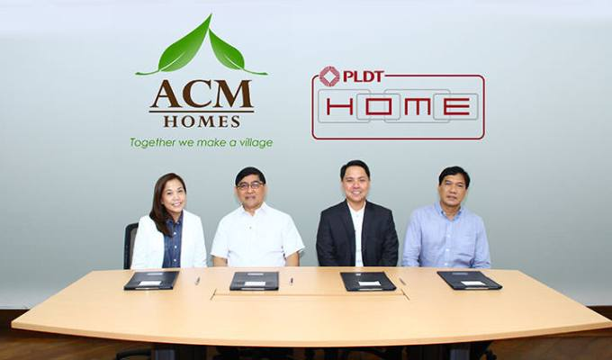 (L-R): ACM Homes Group Vice President for Business Development and Corporate Marketing Angelina B. Magsanoc, ACM Homes President and Director Meldin Al G. Roy, HOME Connectivity Management Head Ken Alvarez and HOME Sales South Luzon District Head Willie Capacite.