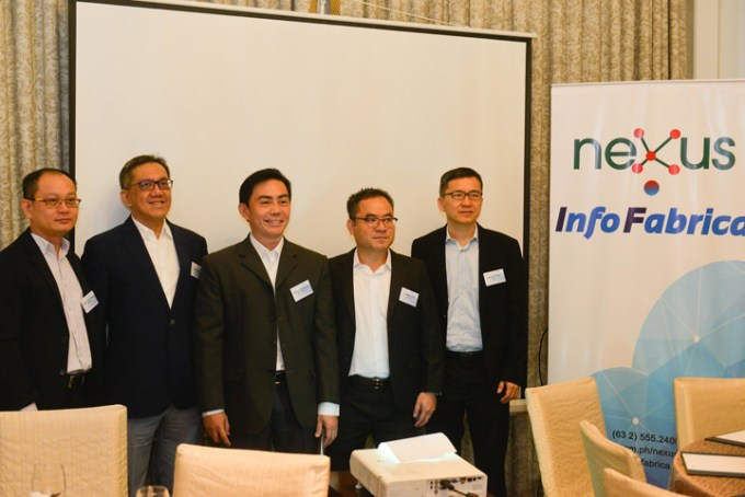 John Defiesta (center), Nexus-InfoFabrica Country Sales Manager, did a presentation of Cloud services offerings of Nexus-InfoFabrica, a joint venture between Nexus Technologies Inc and InfoFabrica Pte Ltd. With him are (from left) Tuck Chong Chan, InfoFabrica Senior Professional Services Manager; Juan Chua, Nexus Technologies Inc. President; Wen Chi Li, InfoFabrica Director; and Lionel Ting, Nexus Technologies Vice President for Business Development. Nexus-InfoFabrica aims to provide Hybrid Cloud services for the commercial, enterprise and SME sectors in the Philippines. With this new partnership, InfoFabrica is now present in five ASEAN countries: Singapore, Indonesia, Vietnam, Thailand, and now, the Philippines. Companies interested in Cloud serivces may call Nexus-InfoFabrica at 555-2400 or email john.defiesta@infofabrica.com.