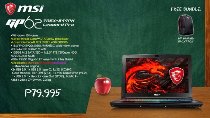 MSI Back to School Promo, MSI GP62