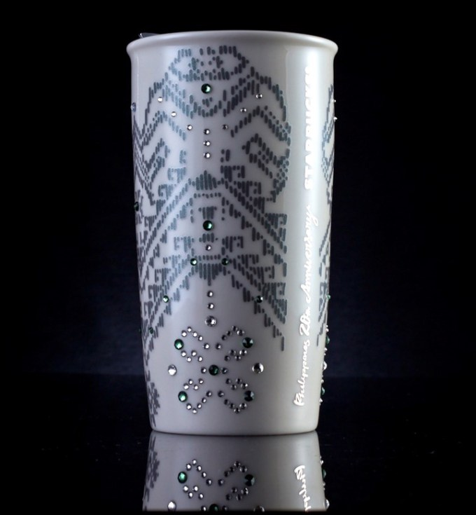 Starbucks 20th Anniversary Mug in Full White Gold