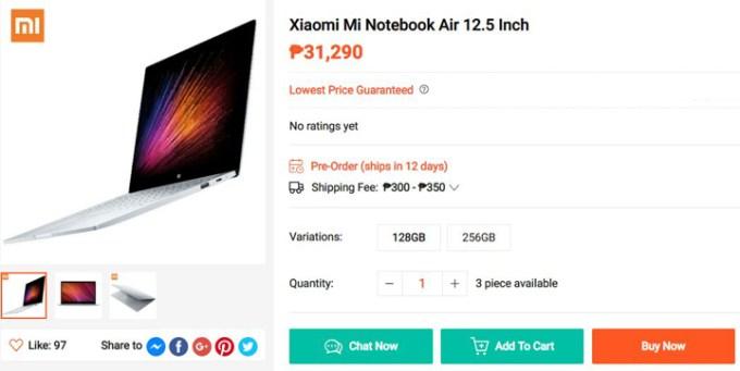 Xiaomi Mi Notebook Air 1.25 price at Shopee Gadget Zone