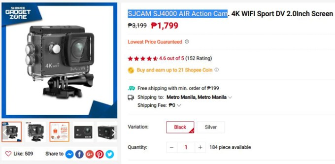 SJCAM SJ400 AIR Action Camera price at Shopee Gadget Zone