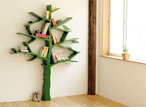 A magical bookshelf, shaped like a tree