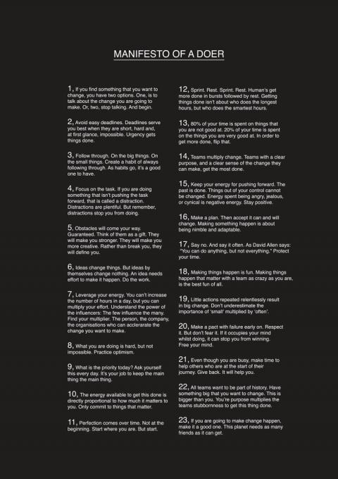 Manifesto of a doer