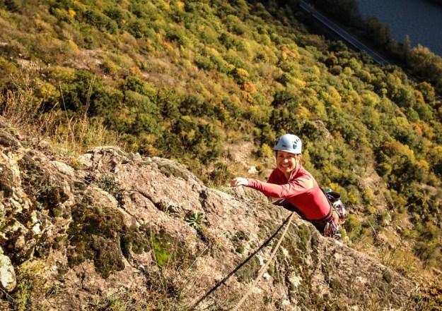Autumn rock climbing