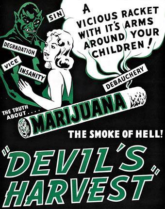 """الملصق الإشهاري لشريط """"حصاد الشيطان"""" (Devil's Harvest)، الذي أنتج عام 1942 في الولايات المتحدة ويُشيطن استهلاك القنب (swissinfo.ch)"""