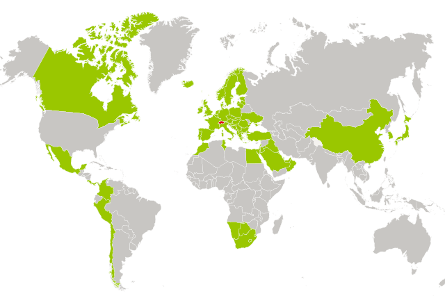 Les pays avec lesquels la Suisse a conclu un accord de libre-échange. (swissinfo.ch)