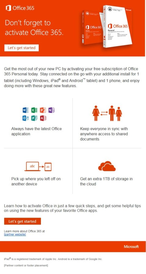 Microsoft Office 365 activation
