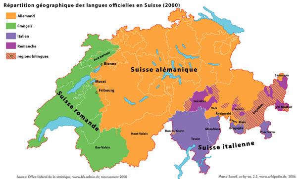 Carte de Suisse romande