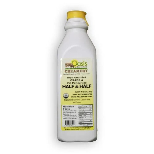 1 Quart Organic Pasteurized Half & Half From Oasis