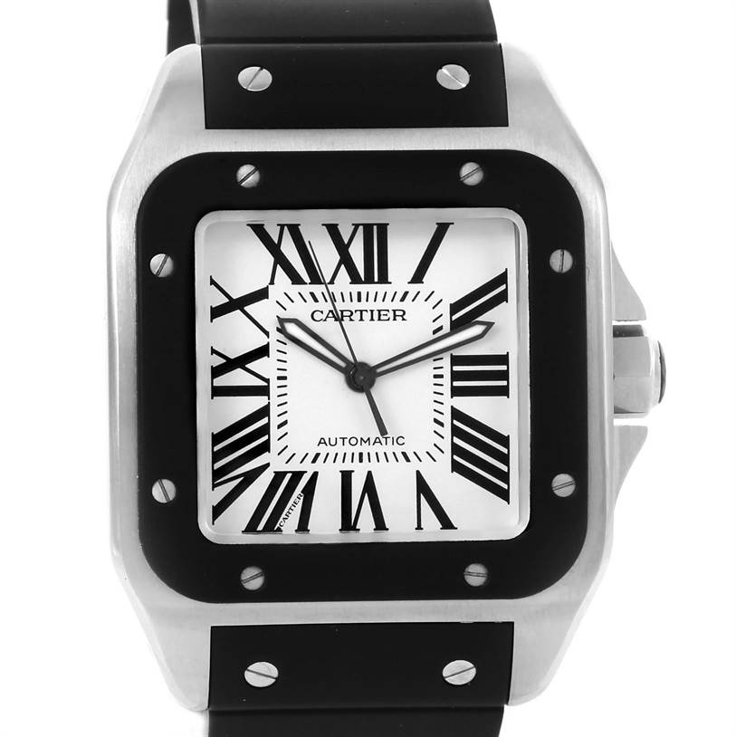 Cartier Santos 100 Stainless Steel Black Rubber Watch W20121U2 13265 Cartier Santos 100 Stainless Steel Black Rubber Watch W20121U2  SwissWatchExpo