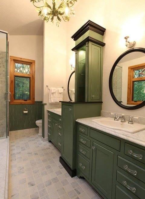 Green double vanity