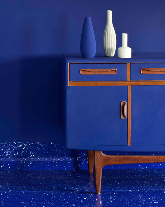 Mid-century modern console painted in Napoleonic Blue Annie Sloan Chalk Paint