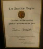 Travis Griffith AmLeg 2018 award