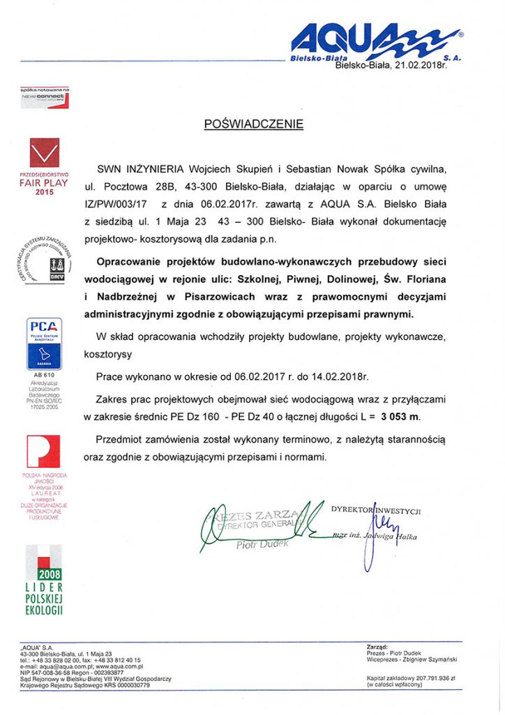 referencje AQUA S.A. Bielsko Biała