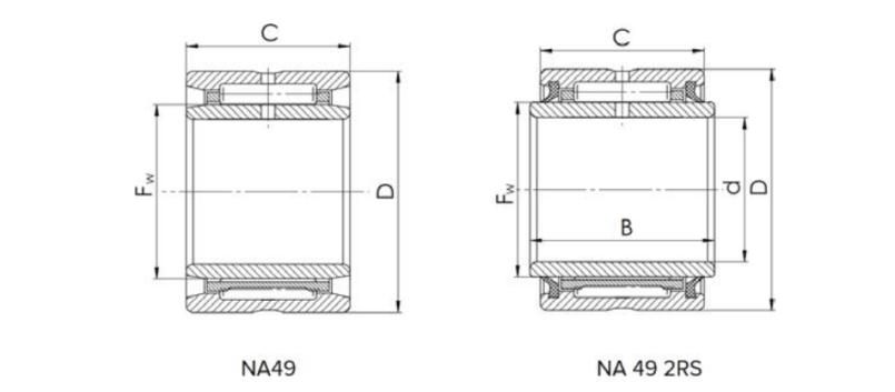 Needle Bearing NA Series Bearing Structure Diagram
