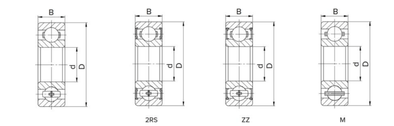 Deep groove ball bearing structure drawing