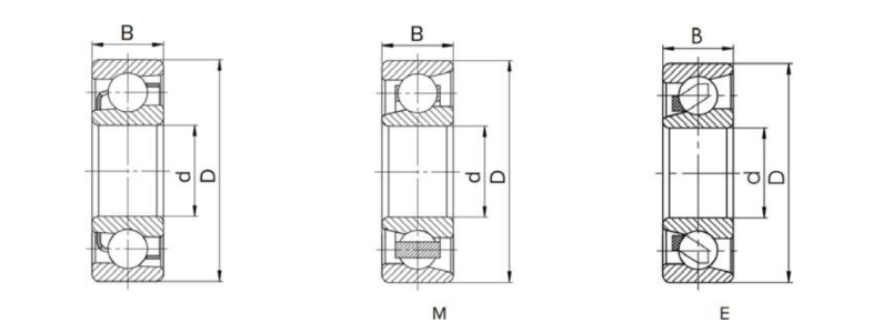 Single row angular contact ball bearing structure sectional view