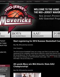 Mid Jersey Mavericks Website Home Page