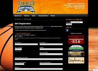 Team Miller Website Registration Form