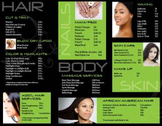 Tania's Beauty Salon Brochure Inside