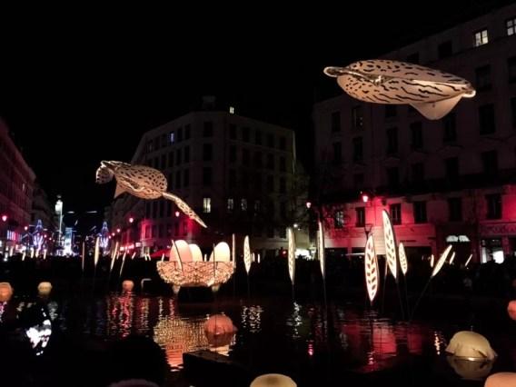 Fête des Lumières held in Place de la Republique in Lyon, France