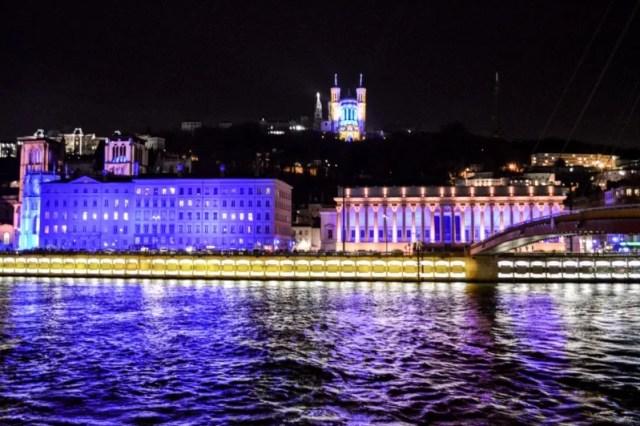Fourvière Hill at la Fête des Lumières in Lyon, France