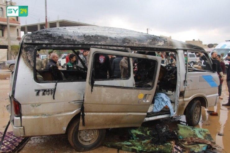 انفجار عبوة ناسفة في سيارة نقل عامة شمال حلب