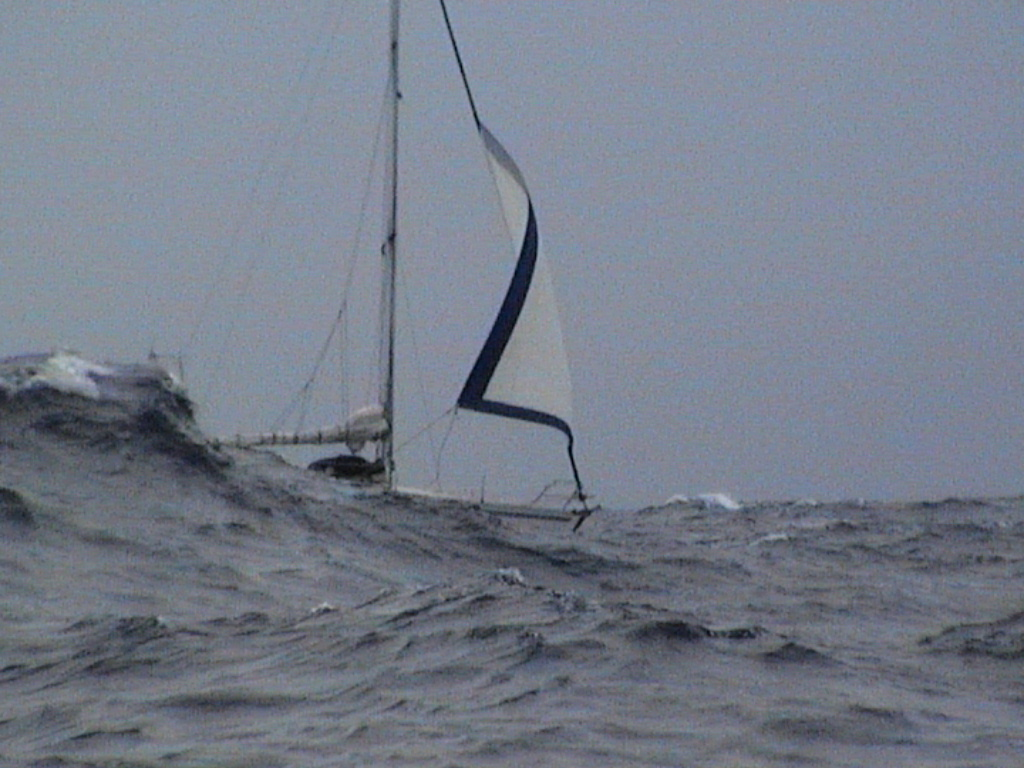 Thetis during the Transat. Caught in the roaring 40s. Pic from S/Y Sequoyah Courtesy of Oli Byles
