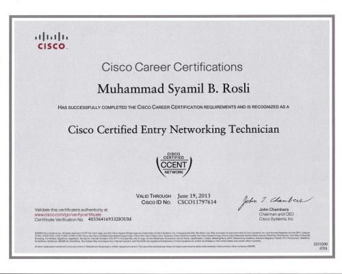 CCENT Certificate