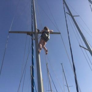 Laura up the mast