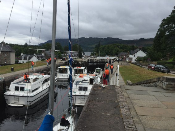 A busy lock. 2 locks further down another batch of boats are heading down