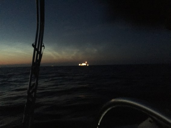The lights from an offshore oil rig