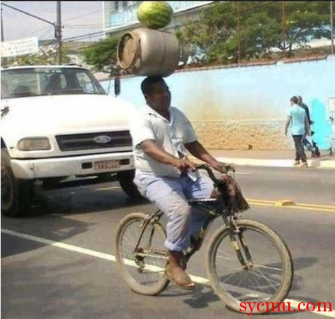 Carrying watermelon, and gas tank on your head