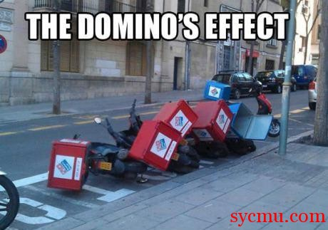 Domino's Pizza Boxes fallen over
