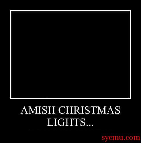 Amish Celebrate Christmas with Christmas lights