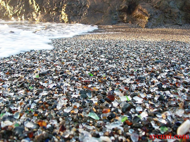 Beach full of glass and rock California