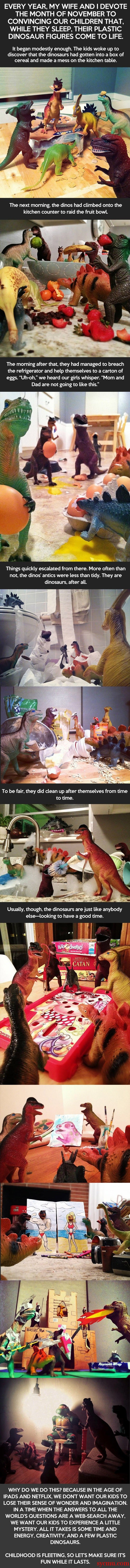 Children Dinosaurs coming to life
