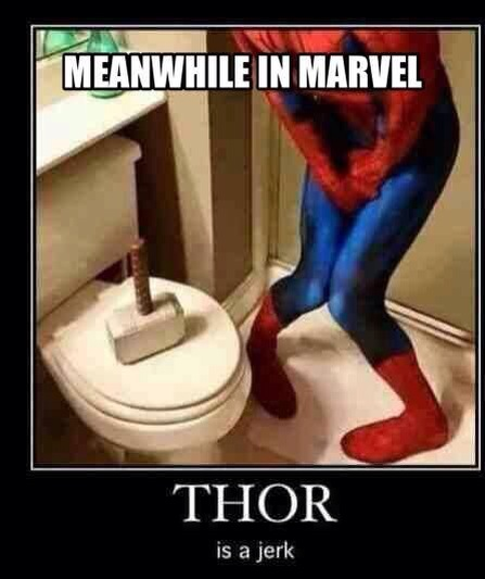 Thor's hammer on Spiderman's toilet seat