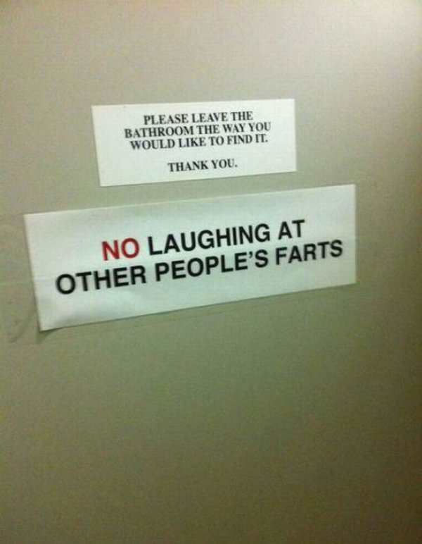 No laughing at other people farting