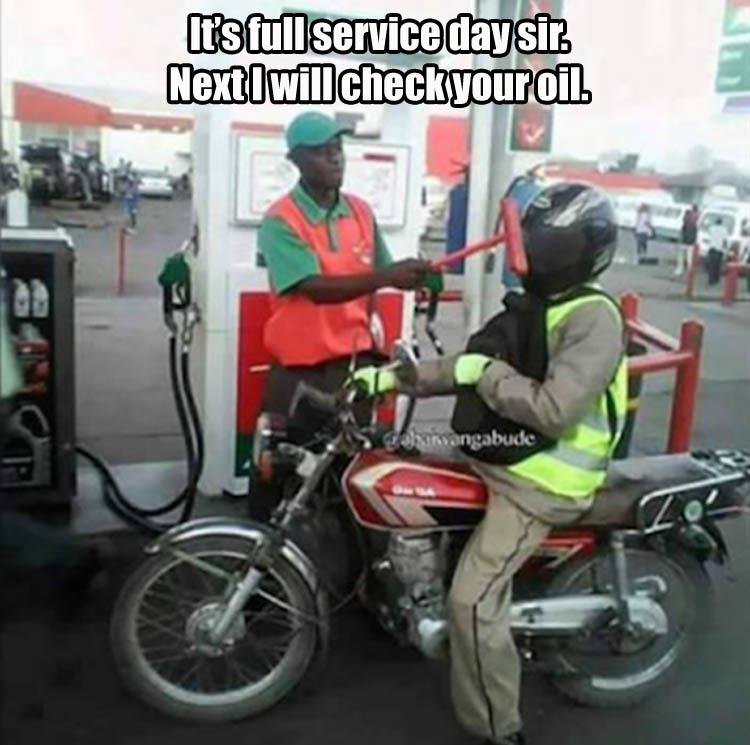 Full Service Motorcycle gas station