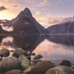 Sunset in Milford Sound, New Zealand photo